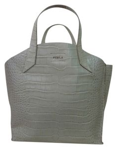 bc15694d57ea Furla Marble Croc Embossed Leather Large Jucca Beige Tote Bag. Get one of  the hottest. Tradesy