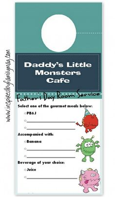 Father's Day Room Service Printable
