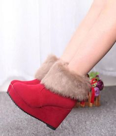 Platform Wedge Heel Butterfly Knot Ankle Snow Boots (Available in 3 colours)