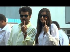 Sonam Kapoor and Anil Kapoor cast their votes for Maharashtra Assembly Elections 2014.