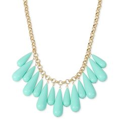 M. Haskell for Inc Gold-Tone Multi-Stone Statement Necklace, ($14) ❤ liked on Polyvore featuring jewelry, necklaces, accessories, teal, goldtone jewelry, gold tone necklace, teal necklace, statement necklaces and teal statement necklace