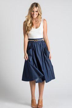 Mia Denim Flare Midi Skirt with Pockets