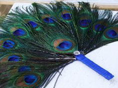 CUSTOM Peacock Feather Favor Fan Costume Accessory for PirateColleen ONE SAMPLE. $20.00, via Etsy.