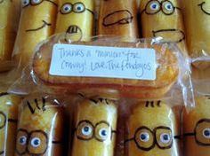 """Decorate individually wrapped Twinkies ON THE OUTSIDE to be minions. For Valentine's Day """"... one in a minion"""""""