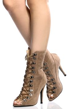 The perfect pair of Heels to channel your inner Kylie Jenner! This pair features a faux suede material, open toe construction, lace up cut, gold hardware, rear zipper for closure, single soles and cushioned insoles. Wear this pair with your favorite skinnies and matching bomber for the perfect look!-True to size(Sizing may vary based on foot width)