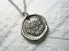 "Love to have this with the 2nd degree of ""character."" Tudor rose wax seal stamp necklace as seen on Texas by RitzyMisfit, $34.00"
