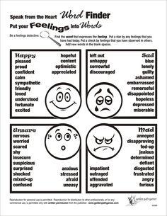 Feelings word finder flyer