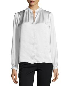Philosophy High-Low Split-Neck Blouse, Ice Reflection New offer @@@ Price :$98 Price Sale $69