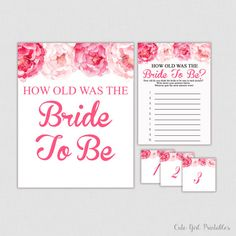 Bridal Shower Games, Pink Peonies Bridal Shower - Bridal Shower Game - How Old Was Bride - Wedding Shower - Guess the Brides Age - 0012P
