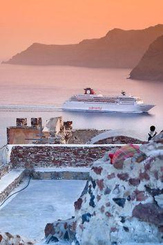 Sunset Sailing in Santorini, Greece