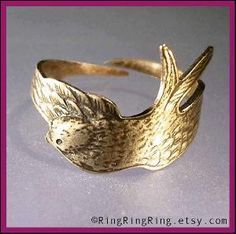 Bird ring jewelry Antiqued gold brass ring by RingRingRing on Etsy