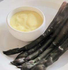 Purple Asparagus with Blender Hollandaise sauce