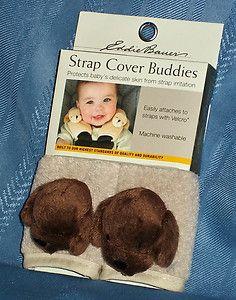 EDDIE BAUER BABY BOYS BROWN PUPPY DOGS CAR SEAT STROLLER SEATBELT STRAP COVERS Eddie Bauer Baby