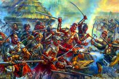 Polish hussars in battle against Ukrainian cossacks High Fantasy, Fantasy Rpg, Medieval Fantasy, Medieval Knight, Medieval Armor, Military Art, Military History, Aztec Culture, Early Modern Period