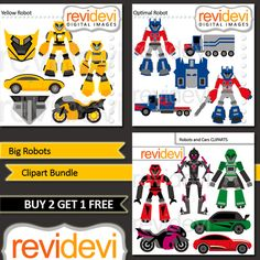 Digital clip art Big Robots and Transportation - Value Bundle Set of 3 from revidevi on TeachersNotebook.com -  (17 pages)  - Robots and transportation clip art. This bundle inspired by Transformers robots (optimus prime, bumblebee), cars, and trucks. The pack contains 17 graphics. Commercial license included.