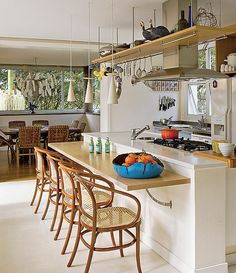 Kitchen island ideas for inspiration on creating your own dream kitchen. diy painted small kitchen design - with seating and lighting Kitchen Interior, Kitchen Design Small, Small Kitchen, Kitchen Remodel, Kitchen Decor, Kitchen Dining Room, Home Kitchens, Kitchen Dinning, Kitchen Design