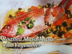 Roasted maya-maya or red snapper is a simple yet elegant dish. The wine and lemon adds continental flavor to the dish. #RoastedMayaMaya Vegetable Recipe Pinoy, Vegetable Recipes, Chicken Paella, Fish Stand, Filipino Recipes, Filipino Food, Onion Leeks, Pork Roast In Oven, Empanadas Recipe
