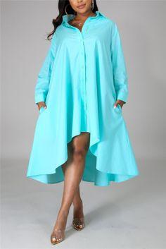 Blue Fashion Casual Regular Sleeve Long Sleeve Turndown Collar Shirt Dress Knee Length Solid Dresses Blue Fashion, Colorful Fashion, Look Fashion, Street Fashion, Collared Shirt Dress, Collar Dress, Yellow Long Sleeve Dress, Yellow Dress, Knee Length Dresses