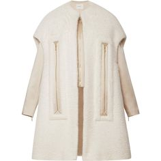 DELPOZO Mohair Coat With Chimney Neckline (121 615 UAH) ❤ liked on Polyvore featuring outerwear, coats, jackets, delpozo, mint flower white, mint coat, faux coat, white coat, mohair coat and white faux coat