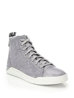 Diesel - Tempus Diamond Washed Leather High-Top Sneakers