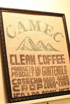 Coffee Sack Magnet Board - Cute way to make my own vintage art