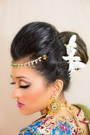 Side view of the hairstyle and makeup. Indian Bridal Hair & Makeup: @nickihalamua Indian Bridal Outfit: Ohm by Neena and Astha www.halabeauty.com