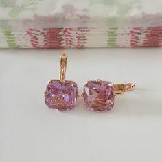 1 Unidades de Moda Mujeres Oro Rosa de Color Del Pendiente de la Boda Joyería Big Square Nueva Moda Pink Zircon Pendientes de Gota de Lujo