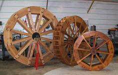 This walks you through the basics of creating a waterwheel. It assumes you have solid math and carpentry skills.