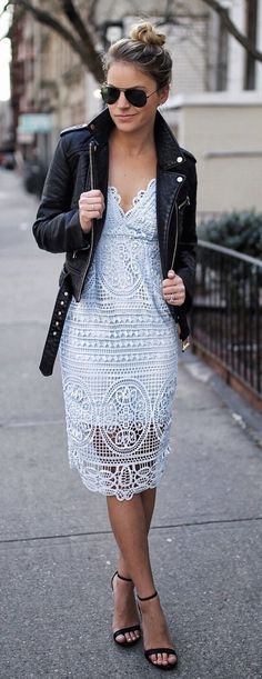 #spring #outfits Black Leather Jacket & White Lace Dress & Black Sandals