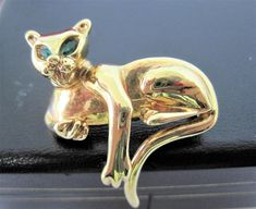 Excited to share the latest addition to my #etsy shop: Kitty Cat Brooch, Gold Tone Metal,  Green Rhinestone Eyes, Perfect Lapel Pin