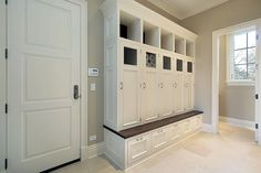 Superb Mudroom & Entryway Design Ideas with Benches and Storage Lockers (PICTURES) - unique and beautiful home design photo galleries Mudroom Cubbies, Mudroom Cabinets, Storage Cabinets, Closet Mudroom, Closet Doors, Cabinet Doors, Entryway Storage, Entryway Decor, Locker Storage
