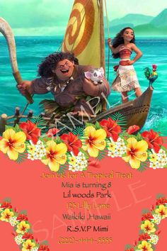 Princess Moana Downloadable invite customized with your information print at home etc Upon payment you will be sent a sample invite to approve .Once approve you will be sent file to print at home etc
