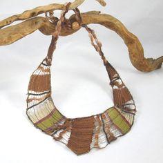 silk sari fabric bib necklace - Fibernique etsy shop