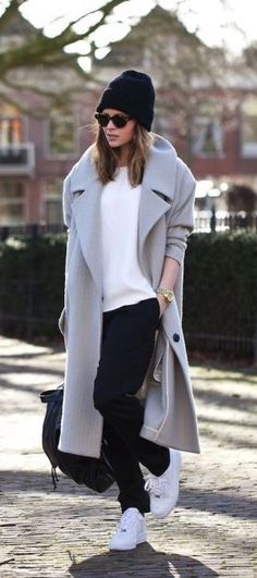 Cozy#grey coat# white sneakers#