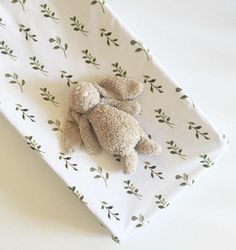 Watercolor Vines changing pad cover  | white and green nursery | botanical leaves nature nursery | gender neutral nursery ideas | by Wilder and Bean