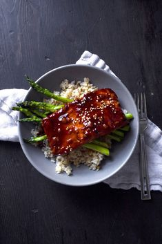 Teriyaki Salmon Bowl with Garlic Sautéed Asparagus