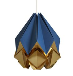 Blue navy and gold origami lamp  elegant and original $89.53 + shipping