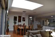 Clearview Skylights installed 2 FS M06 VELUX fixed skylights side by side to the living/dining room, with one large shaft. Both areas now have great amounts of natural light coming in.  VELUX Skylights Perth