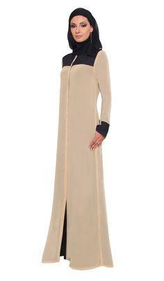 Black Tan Reversible Calligraphy Chiffon Abaya with FREE Hijab - Abaya Designs - Designer abayas at Artizara.com