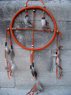 Pumpkin Leather Medicine Wheel/Dream Catcher by Darwins Eye, via Flickr