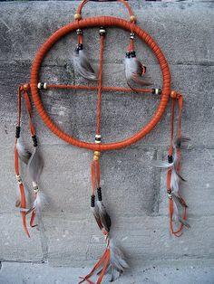 Pumpkin Leather Medicine Wheel/Dream Catcher by Darwins Eye, via Flickr