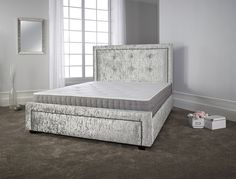 Katie Crushed Velvet Fabric Upholstered Bed Frame 4ft6 Double 5ft King Size