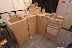 cardboard kitchen, via Flickr.