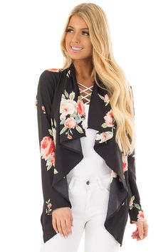 Black Floral Print Drape Cardigan front closeup Drape Cardigan, Cute Boutiques, Kimono Top, Floral Prints, Bell Sleeve Top, Black, Tops, Women, Fashion
