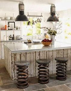 repurposed kitchen stools from old truck springs/ I want a real rustic kitchen! Rustic Kitchen Design, Eclectic Kitchen, Kitchen Designs, Country Kitchen, Vintage Kitchen, Quirky Kitchen, Vintage Bar, Vintage Decor, French Vintage