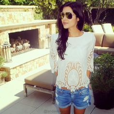 Floral White Cut Out Top @LookBookStore