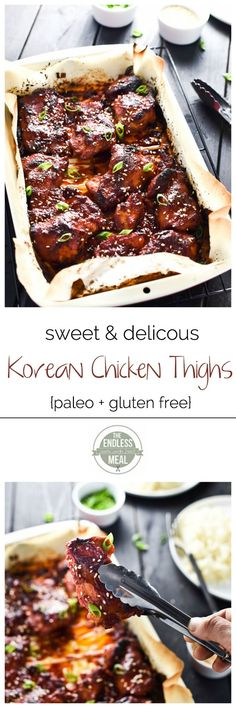 Sweet Korean Chicken Thighs with Cauliflower Rice #paleo
