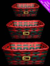 Set Of 3 Christmas Red Hamper Baskets - Make Your Own Food / Toiletries Gifts