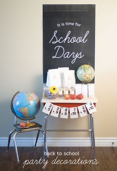 school days party decorations - One Charming Party