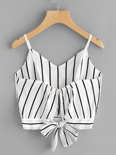 Crop Top Camisole V Neck Striped Cotton Blended Tank Top Summer Women Fashion Vest Tops Crop Top Und Shorts, Tie Crop Top, Crop Top Outfits, Striped Crop Top, Cute Outfits, Crop Tank, Cami Tops, Vest Tops, Women's Tops